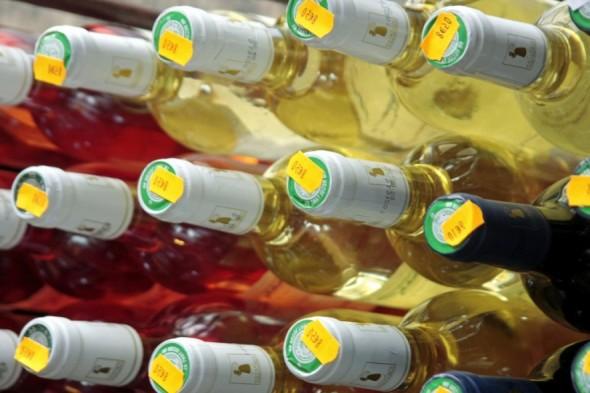 Etiqueta de preço de vinho